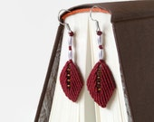 dark red leaves, fall micro macrame dangle earrings, knotted textile fashion jewelry with wax beads and seed beads