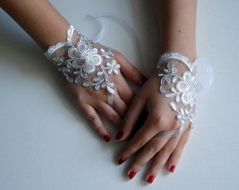 Silver fingerless gloves, Bridal Lace Gloves, Silver Wedding Accessory