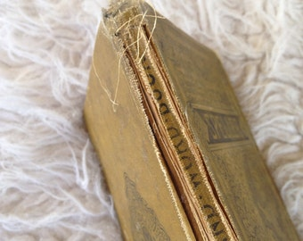 Antique speller primitive text school book shabby chic learning