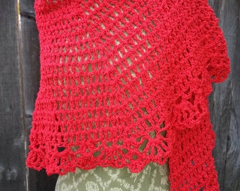 Daring Red Cotton Crocheted Shawl/Wrap