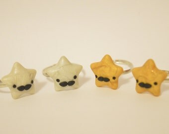 Kawaii Polymer Clay Mustache Ring - Kawaii Polymer Clay Charm