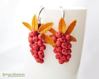 Earrings Rowan Berries - Polymer Clay Flowers