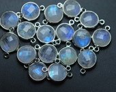 925 Sterling Silver,RAINBOW MOONSTONE Faceted Coins Shape Pendant,10 Piece of 15mm approx