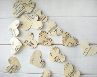 Hearts Garland, Music Page Hearts Garland, Wedding Decor, Wedding Garland, Bridal Shower Decor, Romantic Garland, 10 feet long