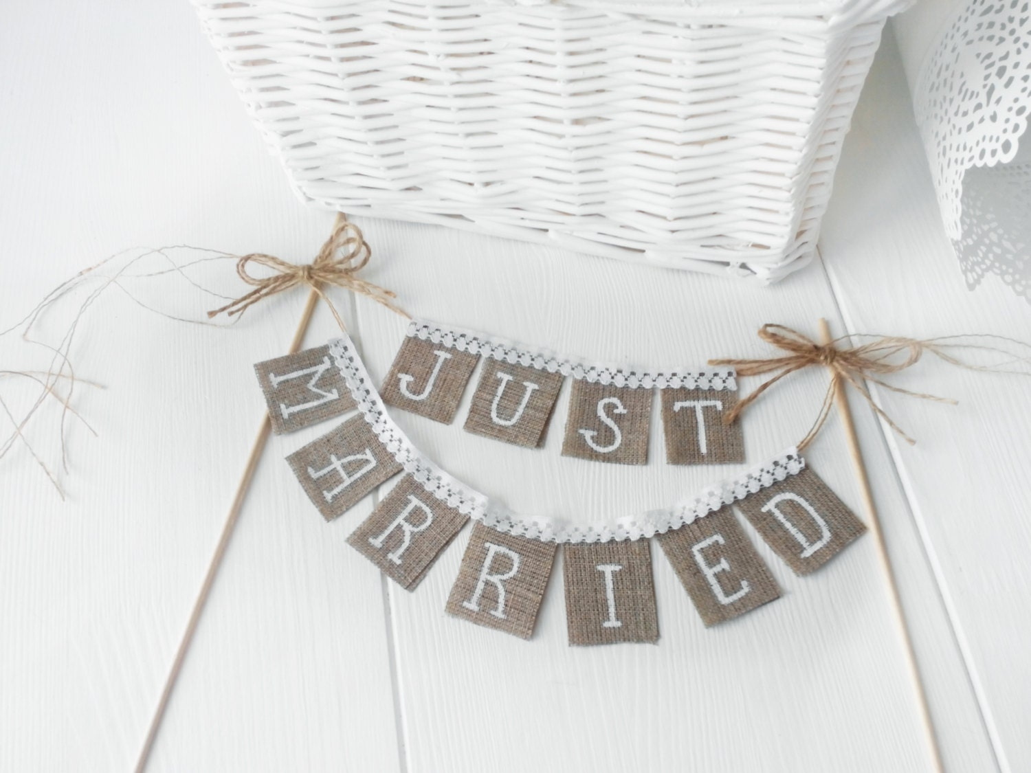Lace Just Married Wedding Cake Topper Just Married by
