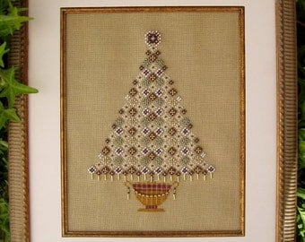 Christmas Cross Stitch Instant Download PDF Pattern Yule Tree Counted Embroidery Design Holidays X Stitch Elegant Beaded Tree DIY Home Decor