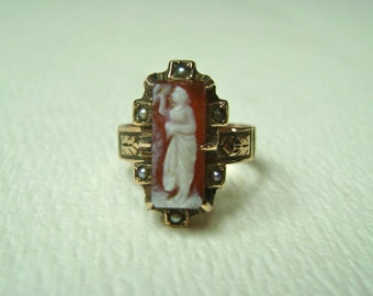lovely antique victorian cameo and seed pearl ring, size 4