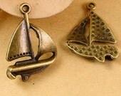 12pcs Sailing Charms DIY Jewelry Accessories Antique Bronze Sailboat Charms Pendant