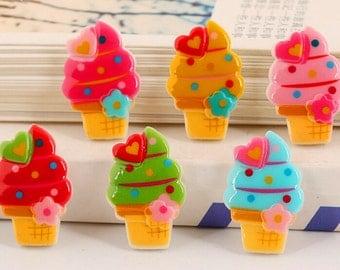 15pcs  DIY Decoration Resin Cartoon Ice cream  flatback Sweet DIY cabochon
