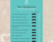 Diamond Ring Ten Questions Bridal Shower Game - Personalized Teal Wedding Shower Game