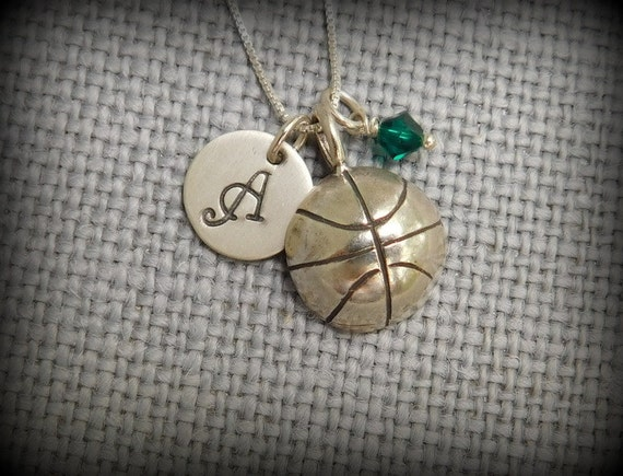 Sterling silver basketball necklace, sports necklace, athlete necklace, birthstone necklace, personalized initial jewelry