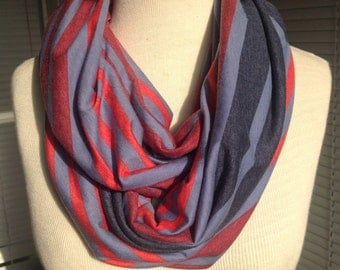 Blue and red striped lightweight knit infinity scarf, striped scarf, red and blue scarf, womens infinity scarf, summer scarf