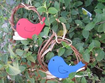 Wood Bird on Nest Ornament Cardinal & Bluebird