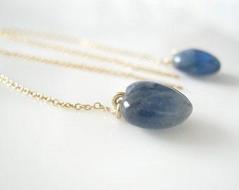 Blue Kyanite Heart Earings, Blue Kyanite Jewelry, Tiny Blue Heart, Chain Earrings Gemstone Earrings