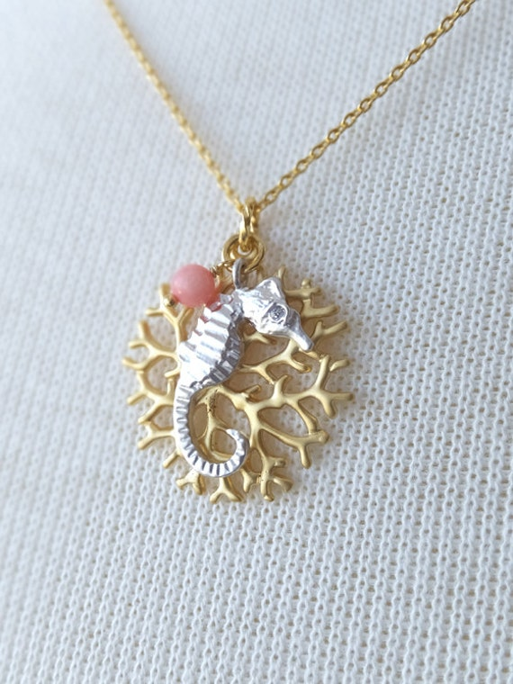 Gold sea fan coral jewelry necklace silver seahorse pendant for Sell gold jewelry seattle