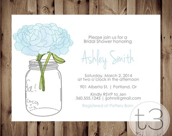 Mason Jar Invitation, Bridal Shower Invitation, Wedding Shower, Mason Jars, Chalkboard, invite, Invitation, peonies