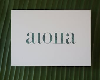 Aloha Print Blue or Pink Note Cards - Set of 6