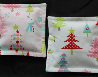 100% Flaxseed Boo Boo Pack Set ... Christmas ... Trees ... Snowman ... Pink ... Unscented Washable Reusable Hot Cold Packs for Kids