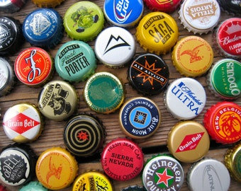 Father's Day Gift - Beer Bottle Cap Magnets - 100 Beer Magnets - Man Cave Stuff - Wedding Party Favors