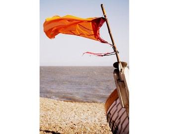 Ship Photography - Orange Flag Fine Art Print - Beach Decor - Aldeburgh Boat - English Seaside Art - 8x12