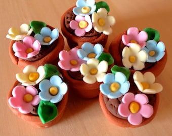12 x Flower pot cupcake toppers