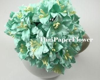 10 Aqua Blue Lily Wedding Paper flower scrapbook card making craft supply 450/LY1
