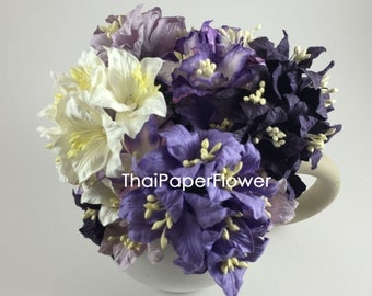 10 Purple White Mixed Chic  Lily Wedding Paper flower scrapbook card making craft supply  601/LY1