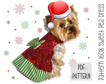 Christmas Dog Dress SEWING PATTERN * 1608 Sweet Pea Dog Dress * Designer Dog Dress * Dog Harness Dress * Pet Clothes * Dog Apparel