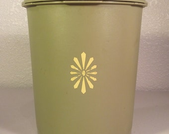 Vintage Tupperware Canister/Avocado Green Tupperware Canister