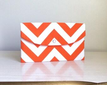 Tangerine chevron clutch/ Gift Ideas/clutch/gift idea