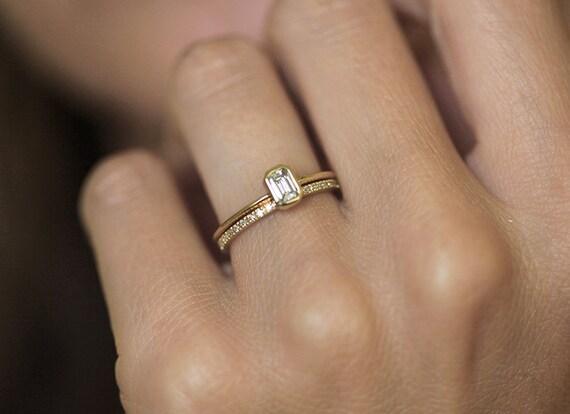 Diamond Ring Engagement Emerald Diamond Engagement Ring with