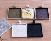 10- Blank Bezel Settings Pendant Trays- 1 inch 25mm Square Pendant Blanks- 5 Colors to Choose From.