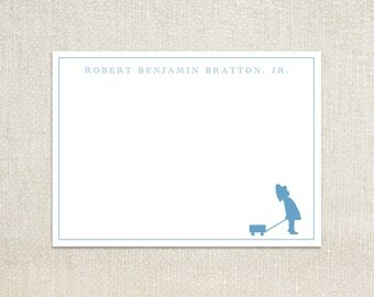 Little boy pulling a wagon silhouette flat note cards stationery