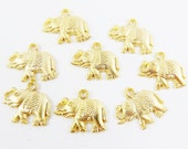 8 Exotic Elephant Charms - 22k Matte Gold Plated - TYPE 2