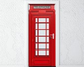 Door Sticker • British Phone Booth • Self-Adhesive Vinyl Decal • Door Wrap 30x79""