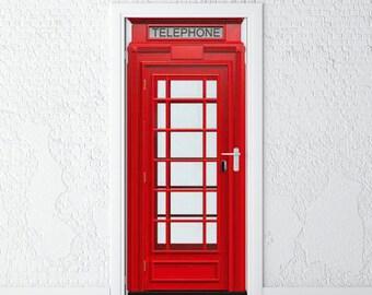 """Door Sticker • British Phone Booth • Self-Adhesive Vinyl Decal • Door Wrap 30x79"""""""