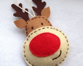 Felt Rudolph the red-nosed reindeer Christmas tree ornament
