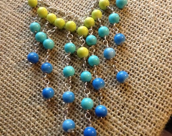 Blue and Green Bib Style Beaded Necklace