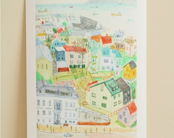 REYKJAVIK ART, Iceland City Print, Houses Reykjavik Rooftops Drawing, Giclée Print Watercolor Painting, Clare Caulfield, Icelandic Art Print