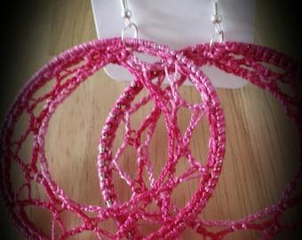 Hot Pink Crochet Hoop Earrings
