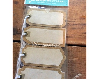 Jolee's Boutique Stickers Burlap Tags with Twine ~ Craft/Scrapbooking Adhesive tags