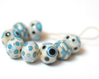 8 pcs Handmade Glass Lampwork - Pair - Glass Lampwork Beads Set