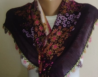 Pink Tulip,Purple  Turkish Traditional Yemeni-Oya,Floral Cotton Scarf Shawl Crochet