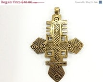 Extra Large Brass Ethiopian Cross Pendant  4 Inch approx - TP107C