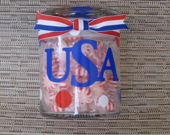 USA/Patriotic Glass Candy Jar. Free Standard Shipping