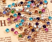 100 pcs lot --- Sew-On Gems / Beads --- Mixed Colors Mixed Shapes Flat Back Gems -- ( size 5mm - 8mm )