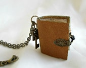 Book necklace, book jewellery, book lovers gift. tiny leather journal