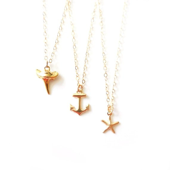 Delicate Gold Necklace, Gold Shark Tooth Necklace, Gold Anchor Necklace, Gold Starfish Necklace, 14k Gold Necklace, Thin Gold Chain