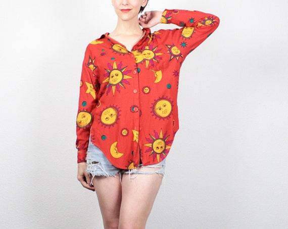 Vintage 90s Shirt Red Orange SUN Moon Novelty Print Blouse 1990s Shirt Button Down Draped Soft Grunge Shirt Hipster Boho Top M Medium L