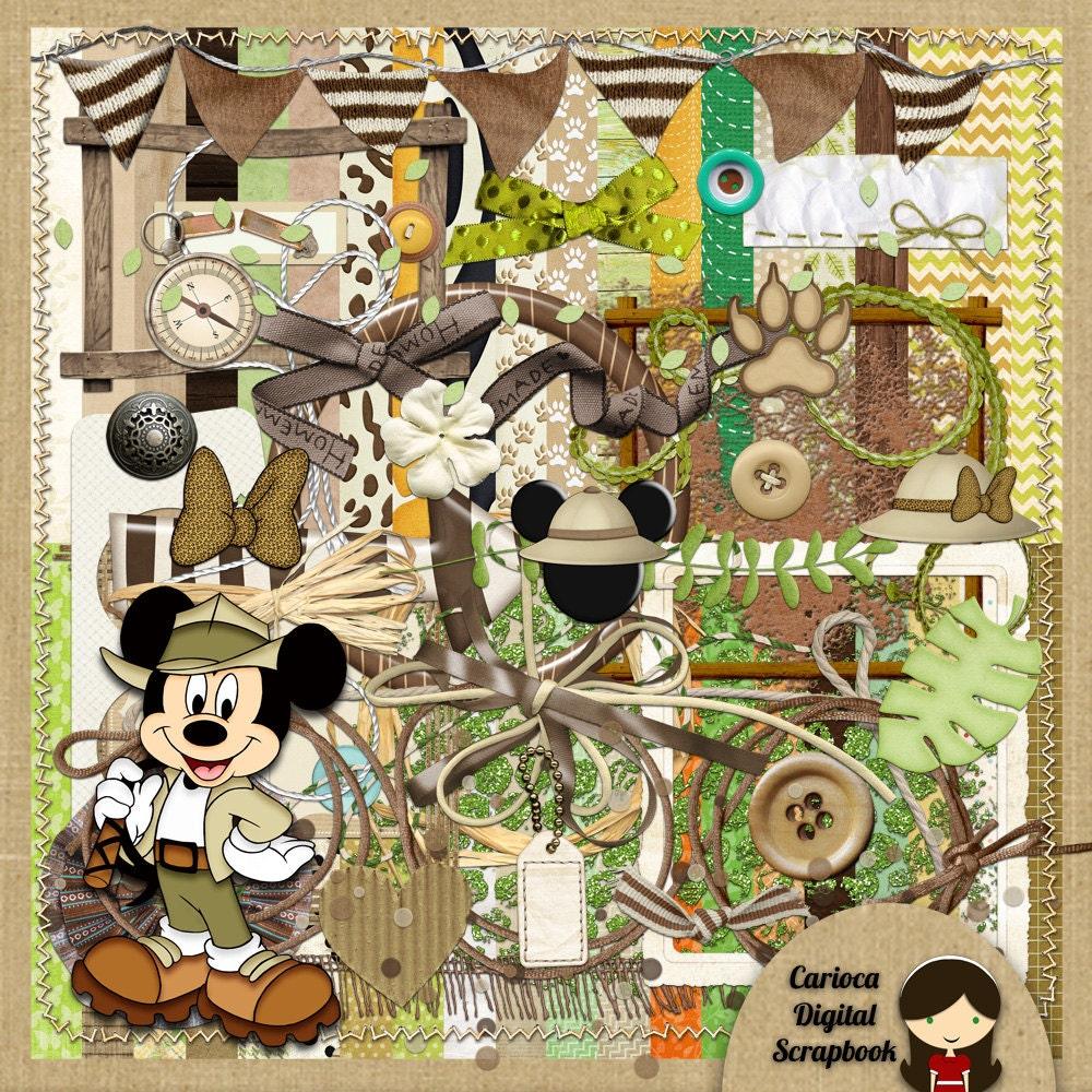 Jungle scrapbook ideas - Mickey Safari Digital Scrapbook Kit From Carioca Digital Scrapbook